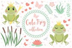 Jeu de caractères mignon de princesse de grenouille des objets Collection d'élément de conception avec des roseaux de marais, fle photographie stock libre de droits