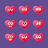 Jeu de caractères rose d'Emoji de coeur Photos libres de droits