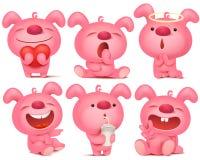 Jeu de caractères rose d'emoji de lapin avec différentes émotions et situations illustration libre de droits