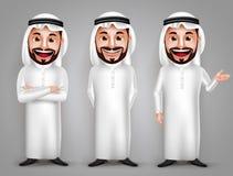 Jeu de caractères saoudien de vecteur d'homme avec le geste amical différent Photos stock