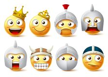 Jeu de caractères souriant de vecteur de visage Caractères de smiley et d'émoticônes de roi, reine, chevaliers, guerriers utilisa illustration de vecteur
