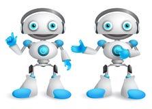 Jeu de caractères de vecteur de robots Élément amical de conception de robot de mascotte illustration stock