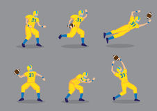 Jeu de caractères de vecteur de joueur de football américain Images libres de droits