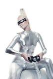 jeu de cyber jouant le femme visuel Image stock