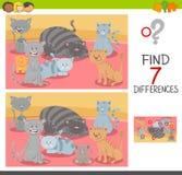 Jeu de différences de découverte avec des caractères de chat illustration de vecteur