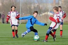 Jeu de football de Kaposvar - de Pecs U13 Photo libre de droits