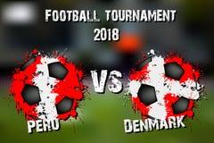 Jeu de football Pérou contre le Danemark Photographie stock libre de droits