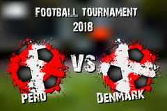 Jeu de football Pérou contre le Danemark illustration stock