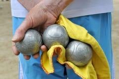 Jeu de jeu de boules Photos stock
