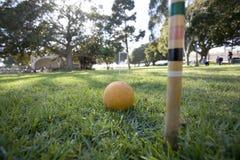 Jeu de jeu de croquet en stationnement Photo stock