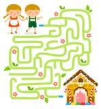 Jeu de labyrinthe avec Hansel et Gretel Images libres de droits