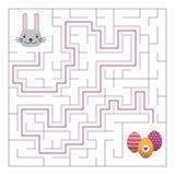 Jeu de labyrinthe de labyrinthe avec la solution Amusement de Pâques illustration stock