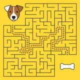 Jeu de labyrinthe de labyrinthe avec la solution Chien d'aide illustration de vecteur