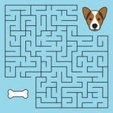 Jeu de labyrinthe de labyrinthe avec la solution Chien d'aide Photographie stock libre de droits