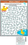 Jeu de labyrinthe avec les canetons et l'étang illustration libre de droits