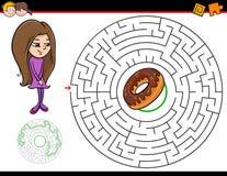 Jeu de labyrinthe de bande dessinée avec la fille et le beignet illustration de vecteur