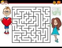 Jeu de labyrinthe de bande dessinée avec le garçon dans l'amour et la fille illustration libre de droits