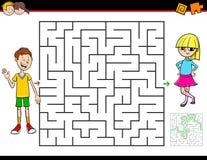 Jeu de labyrinthe de bande dessinée avec le garçon et la fille illustration stock
