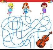 Jeu de labyrinthe de chemins avec les filles et le violon illustration stock