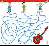 Jeu de labyrinthe de chemins avec les garçons et la guitare illustration de vecteur