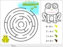 Jeu de labyrinthe, couleur de peinture par des nombres - fiche de travail pour l'éducation Images libres de droits