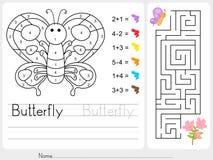 Jeu de labyrinthe, couleur par des nombres - fiche de travail pour l'éducation Images stock