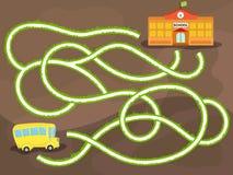 Jeu de labyrinthe de vecteur avec l'autobus scolaire illustration libre de droits