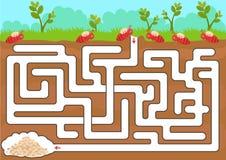 Jeu de labyrinthe de vecteur avec la pièce de fourmi de découverte illustration de vecteur