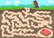 Jeu de labyrinthe de vecteur avec la pièce de taupe de découverte illustration stock