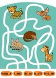 Jeu de labyrinthe pour des enfants Ensemble d'animaux africains illustration de vecteur