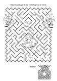 Jeu de labyrinthe pour des enfants - les hiboux équilibrent l'arbre de Noël Photos stock
