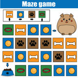 Jeu de labyrinthe, thème d'animaux Badine la feuille d'activité Jeu de labyrinthe de logique avec la navigation de code Images libres de droits