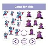 Jeu de logique d'éducation pour les enfants préscolaires Choisissez la réponse correcte Plus, moins ou illustration égale de vect Photo stock