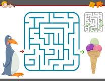 Jeu de loisirs de labyrinthe avec le pingouin illustration stock