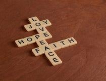 Jeu de mots croisé avec la foi de mots, espoir, amour Concept de foi Images stock
