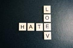Jeu de mots croisé d'amour et de haine Photographie stock libre de droits