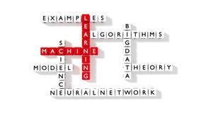 Jeu de mots croisé plat montrant des composants d'apprentissage automatique comme dic Photo stock