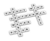 Jeu de mots croisé vert renouvelable d'énergie Photographie stock libre de droits