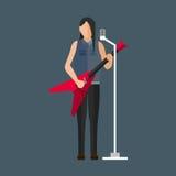 Jeu de musicien de bande dessinée sur la guitare moderne saine et le jeune divertissement acoustique masculin de chanson d'artist Photographie stock