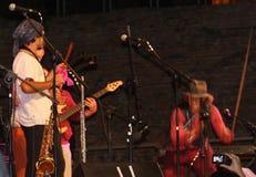 Jeu de musiciens de rue sur la scène Photos stock