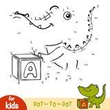 Jeu de nombres, jeu d'éducation pour des enfants, crocodile Image libre de droits