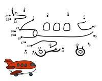 Jeu de nombres pour des enfants : avion Photos stock