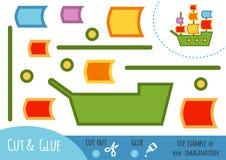 Jeu de papier d'éducation pour des enfants, bateau de navigation Photographie stock libre de droits