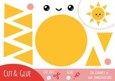 Jeu de papier d'éducation pour des enfants, Sun illustration stock