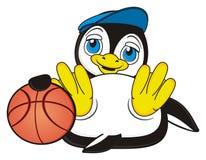 Jeu de pingouin au basket-ball illustration de vecteur