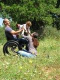 Jeu de pique-nique de fauteuil roulant photos libres de droits