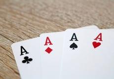 Jeu de poker avec les as, quatre d'une sorte Images stock