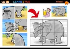 Jeu de puzzle d'éléphant de dessin animé Image libre de droits