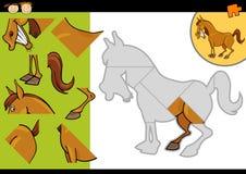 Jeu de puzzle de cheval de ferme de bande dessinée Images stock
