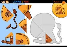 Jeu de puzzle de lion de dessin animé Images stock
